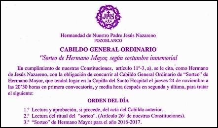 CABILDO DE SORTEO DE HERMANO MAYOR Y EUCARISTÍA POR LOS DIFUNTOS DE LA HERMANDAD