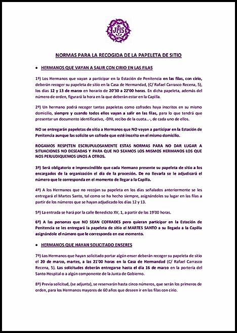 HOY COMIENZA EL REPARTO DE LAS PAPELETAS DE SITIO