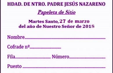 HOY MARTES, SEGUNDO Y ÚLTIMO DÍA DE RECOGIDA DE PAPELETA DE SITIO