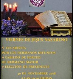VIERNES 30: ELECCIONES DE PRESIDENTE Y SORTEO DE HERMANO MAYOR