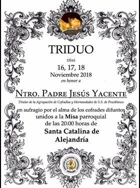 HOY COMIENZA EL TRIDUO EN HONOR A NUESTRO PADRE JESÚS YACENTE