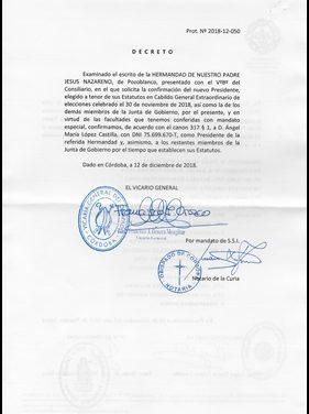 EL OBISPADO CONFIRMA LA ELECCIÓN DE ÁNGEL MARÍA LÓPEZ CASTILLA COMO PRESIDENTE DE NUESTRA HERMANDAD