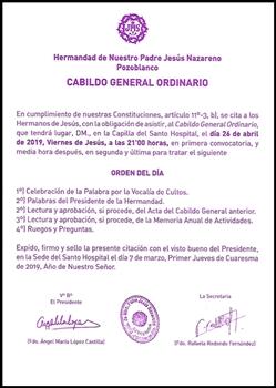 ESTE VIERNES, CABILDO GENERAL DE NUESTRA HERMANDAD
