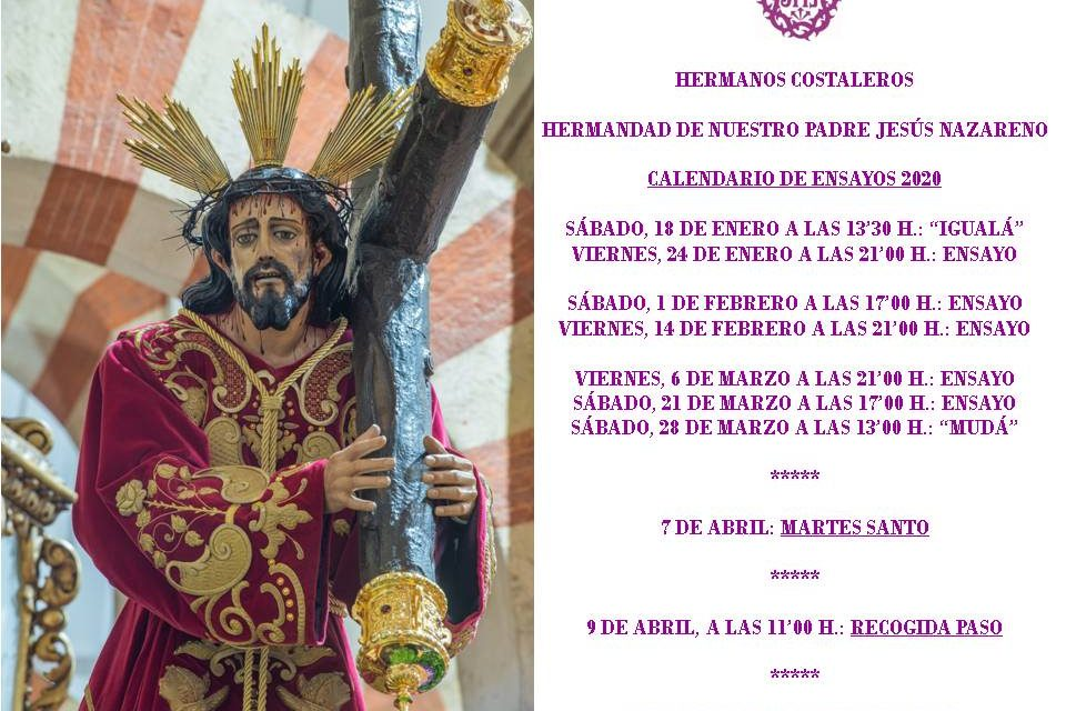 YA TENEMOS EL CALENDARIO DE ENSAYOS DE LOS HERMANOS COSTALEROS