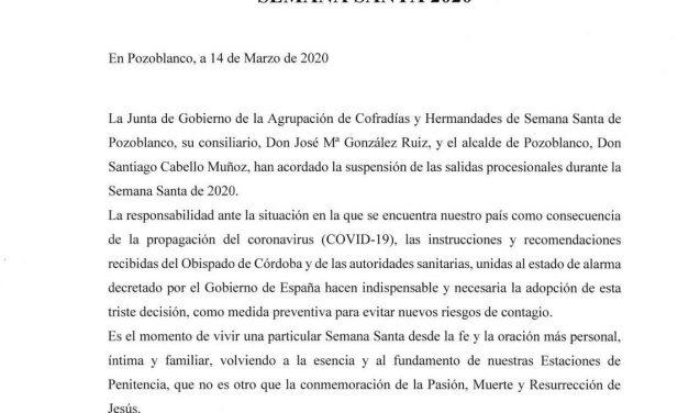 ÚLTIMA HORA: SUSPENDIDAS LAS PROCESIONES DE SEMANA SANTA DE POZOBLANCO 2020