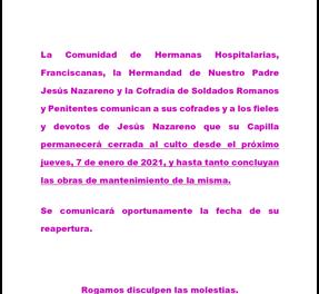 COMUNICADO OFICIAL: LA CAPILLA DE JESÚS NAZARENO SE CIERRA AL CULTO TEMPORALMENTE
