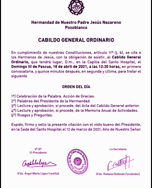 CABILDO GENERAL ANUAL DE LA HERMANDAD