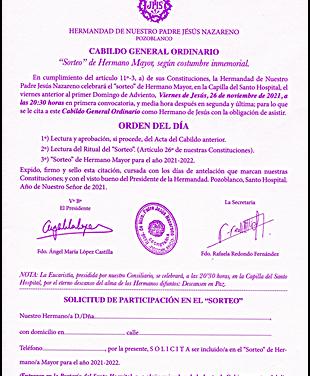 CONVOCADO EL CABILDO GENERAL DE SORTEO DE HERMANO MAYOR