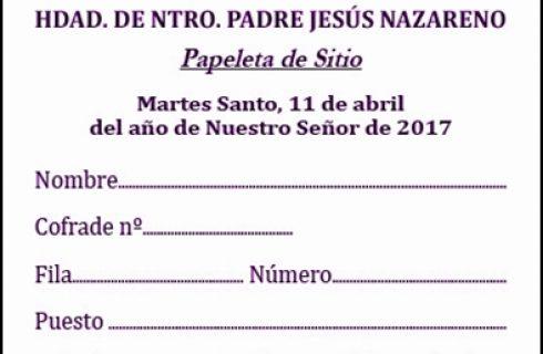CONTINÚA HOY EL REPARTO DE PAPELETAS DE SITIO